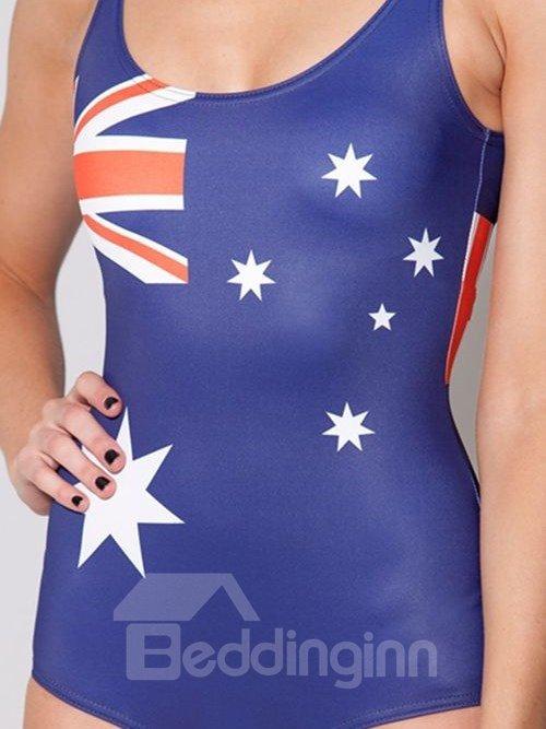 Fashionable U-neck 3D Australian Flag Pattern One-piece Swimwear
