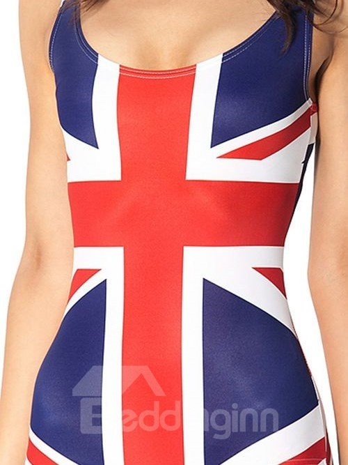 Popular U-neck 3D Flag of United Kingdom Pattern One-piece Swimwear