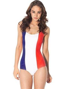 Charming U-neck Flag of France Pattern One-piece Swimwear