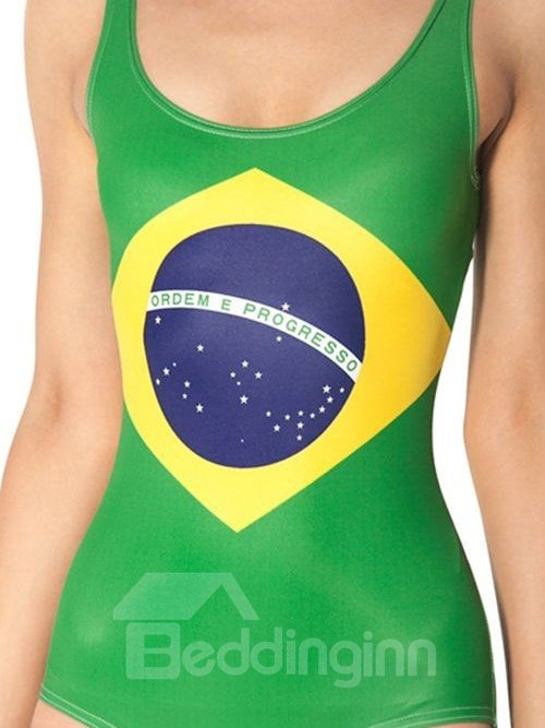 Fabulous U-neck Brazilian Flag Pattern One-piece Swimwear