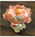 Wonderful Ceramic Flower Shape Compote Painted Pottery