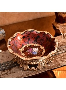 Red Creative Resin Round Flower Pattern Compote Painted Pottery