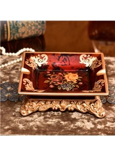 Classic Retro European Style Flower Pattern Ashtray Painted Pottery