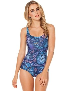 Pretty U-neck 3D Many Owls and Flowers Pattern One-piece Swimwear