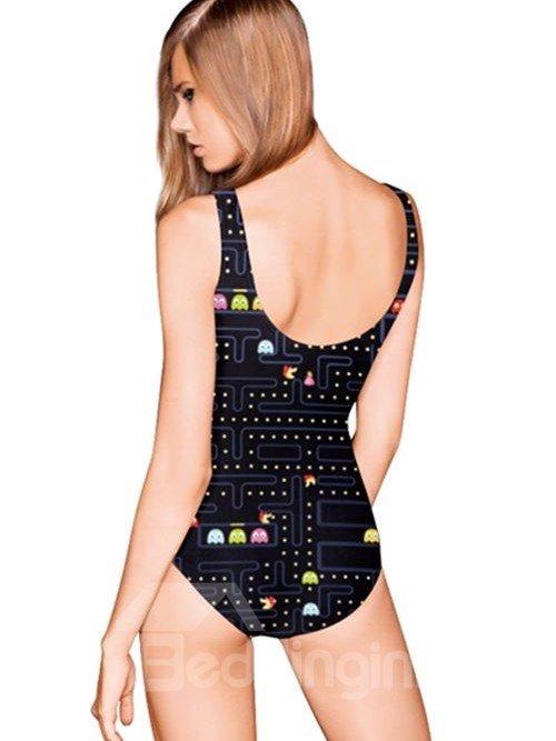 Unique U-neck Pac-man Game Pattern Black Background One-piece Swimwear