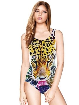 Modern U-neck 3D Leopard Face Open Its Mouth Pattern One-piece Swimwear