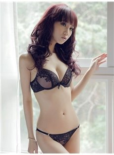 Dark Flower Sculpture Hollow Sexy Simple Bra Underwear Sets