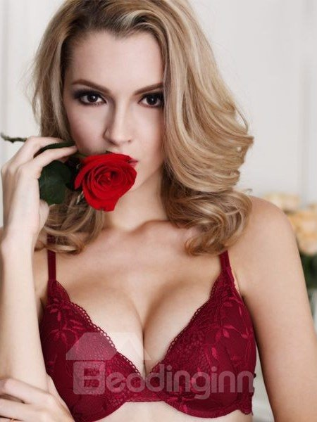 Attractive Floral Style And Solid Sexy Bra Underwear Sets