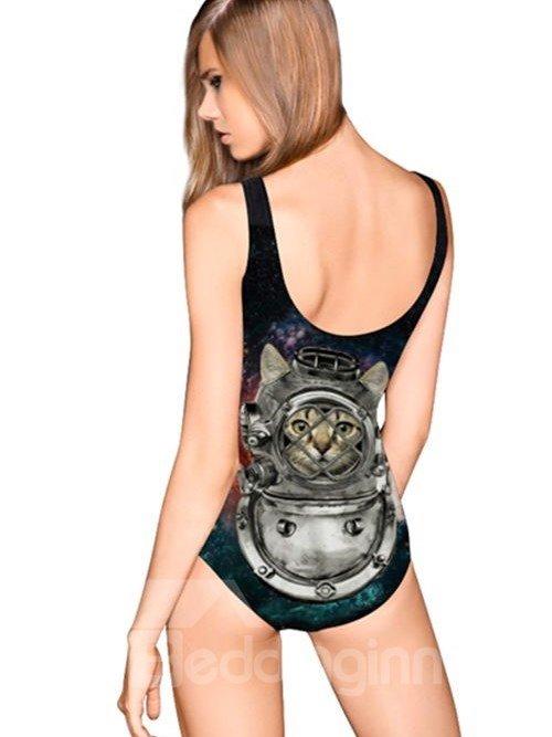 Cute U-neck 3D Cat Wear Armour Pattern Starry Sky Background One-piece Swimwear