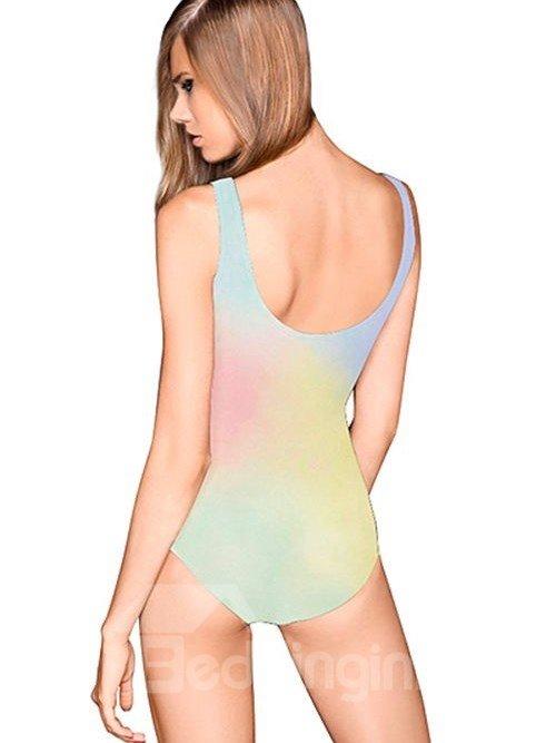 Lovely U-neck 3D Cartoon Poo Pattern Colorful Background One-piece Swimwear