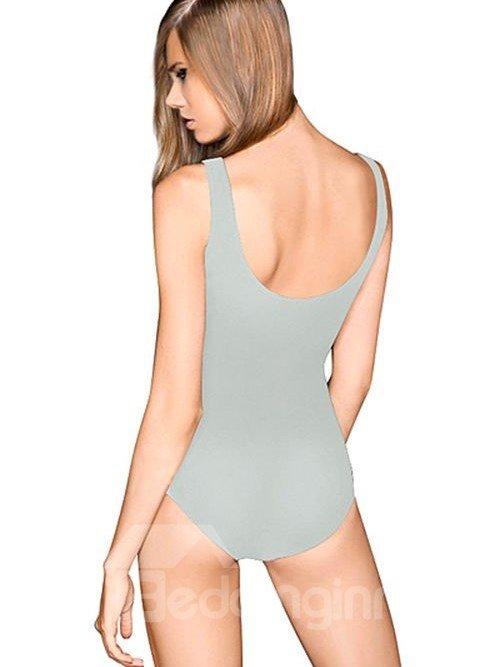 Unique U-neck 3D Game Machine Pattern Grey Background One-piece Swimwear