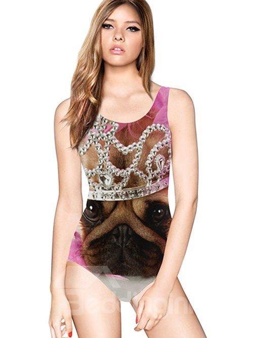 Lovely U-neck 3D Dog Wearing Crown Pattern Pink Background One-piece Swimwear