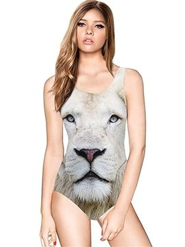 Modern U-neck 3D White Lion Face Pattern One-piece Swimwear