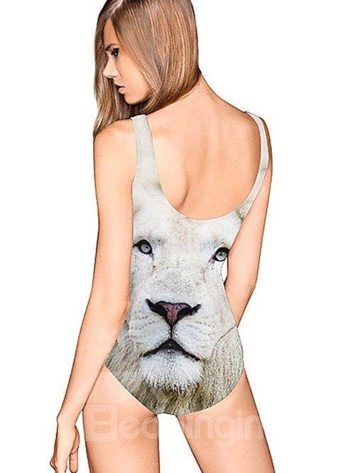 Modern U-neck 3D White Lion Face Pattern One-piece Swimwear