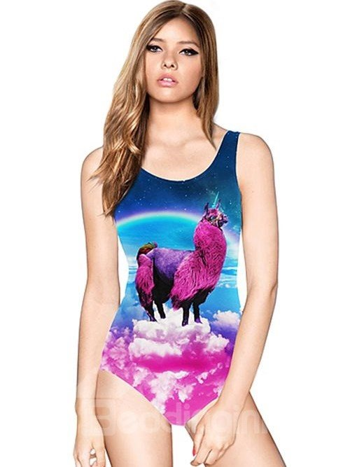 Charming U-neck 3D Fuchsia Alpaca Pattern Sky Background One-piece Swimwear