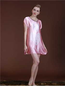 Simple And Exquisite Double Heart-Shaped Design Sleepshirt
