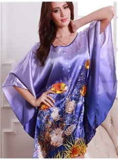 Magic Charming Purple With Beautiful Ocean World Pattern Design Sleepshirt