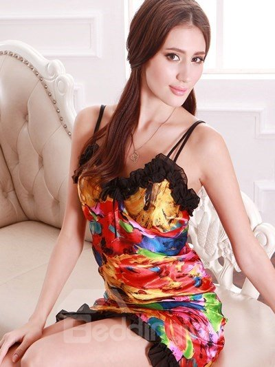 Most Fashional Bright Flowers Relief Harness-Style Sleepshirt