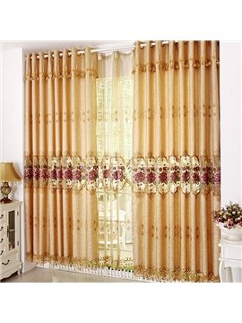 Burnout Purple Rose Grommet Top Custom Curtain with Lace Border