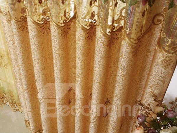 Burnout Purple Rose Grommet Top Custom Curtain with Lace Border
