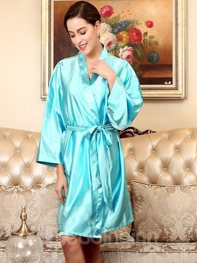 Super Luxurious Solid Design And Warm Lace Up Attractive Sleepshirt