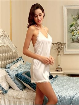 Spring Autumn Nightgown Women Sexy Backless Solid Dress Sleepwear