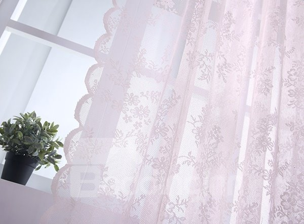 Pink Lace Sheer Curtain with Waves Border and Valance