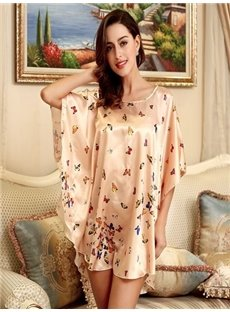 Unique Loose Fashional Design With Flower And Butterfly Sleepshirt