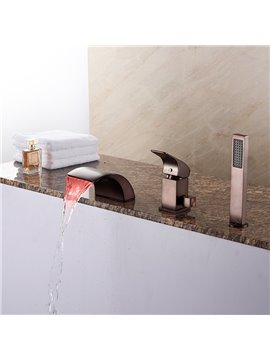 Oil-rubbed Bronze Finish Three Holes With LED Light Bathtub Faucet