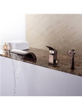 European Style Oil-rubbed Bronze Finish Three Hole With Hand Shower Bathtub Faucet