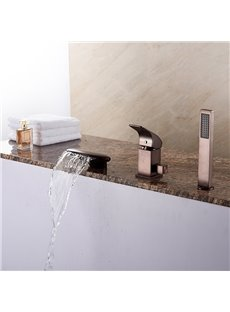 European Style Oil-rubbed Bronze Finish Three Holes With Hand Shower Bathtub Faucet