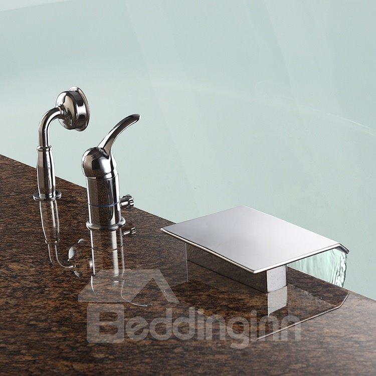 Contemporary Chrome Finish Three Holes Single Handle Bathtub Faucet