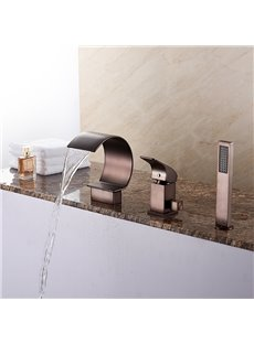 Oil-rubbed Bronze Single Handle Three Holes with Hand Shower Bathtub Faucet