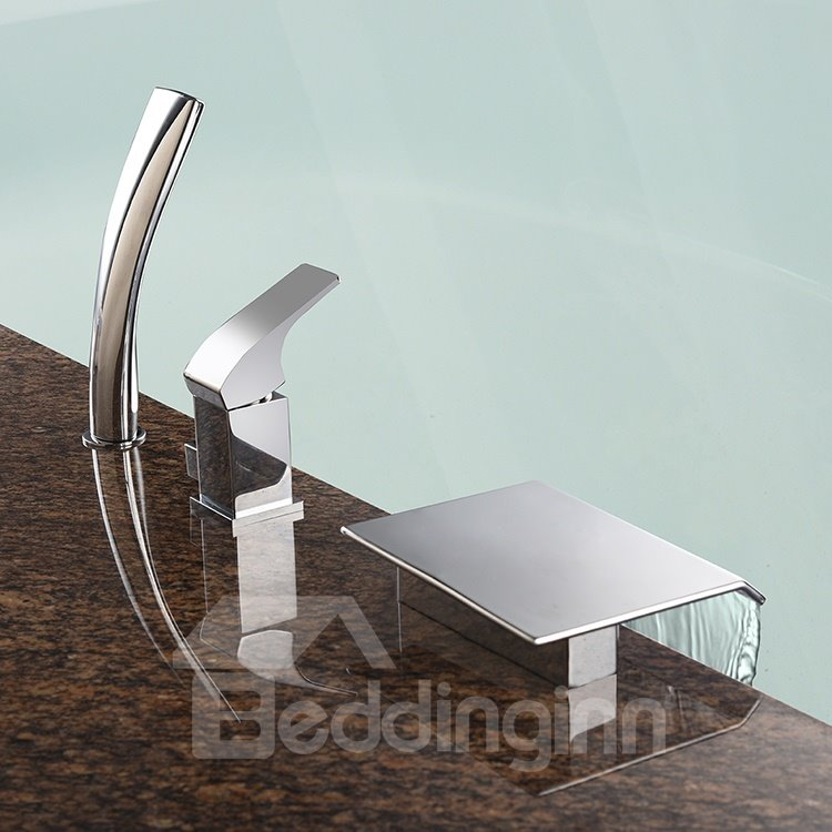 Contemporary Chrome Waterfall Rectangle Shape Three Holes Bathtub Faucet