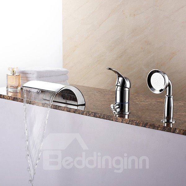 Creative Single Handle Widespread With Hand Shower Bathtub Faucet