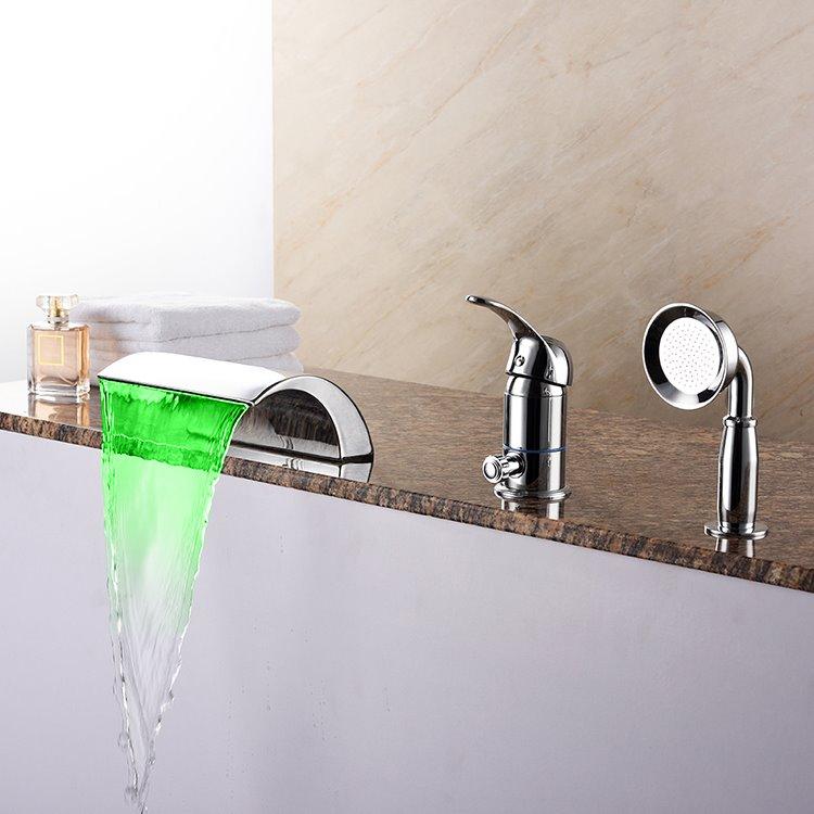 Delicate Three Holes Single Handle LED Light Waterfall Bathtub Faucet