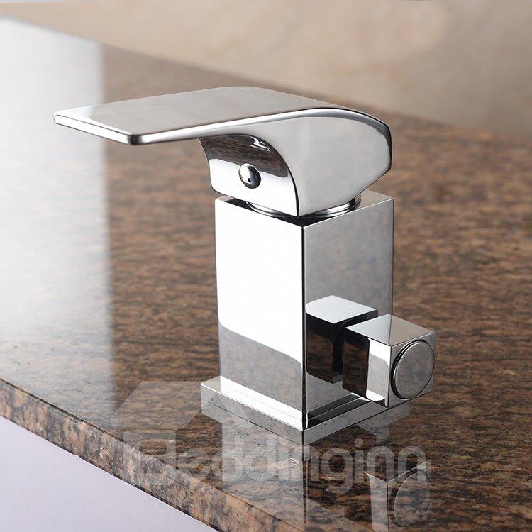 Modern Design Curve Shape Chrome Three Holes Waterfall Bathtub Faucet