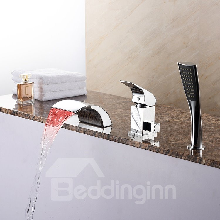 Practical Contemporary Chrome Single Handle Three Holes LED Light Bathtub Faucet