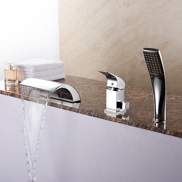 Amazing Contemporary Chrome Three Holes Waterfall Bathtub Faucet