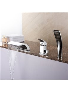 Amazing Contemporary Chrome Three Holes Waterfall Bathtub Faucet