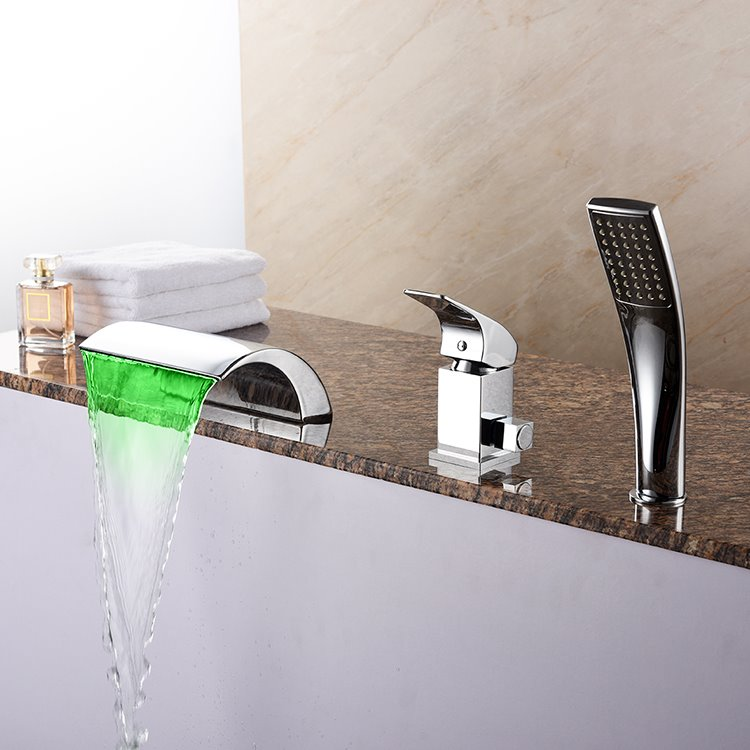 Colorful Chrome Single Handle Three Holes LED Widespread Bathtub Faucet