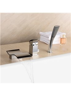 Contemporary Chrome Single Handle Three Holes Waterfall Bathtub Faucet
