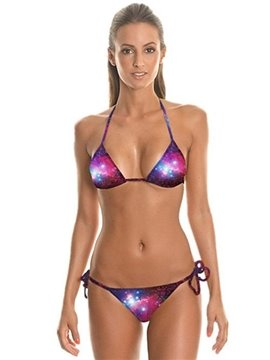 Attractive Starry Sky Pattern Two-piece Halter 3D Painted Bikini