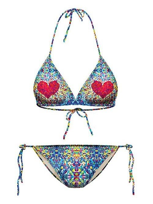 Super Heart Pattern Colorful Background Two-piece Halter 3D Painted Bikini