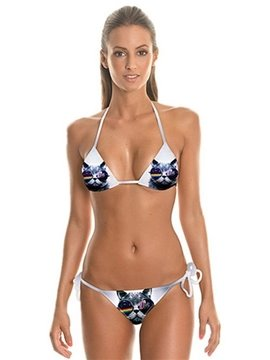 Fashion Cat Wear Sunglasses Pattern Two-piece Halter 3D Painted Bikini