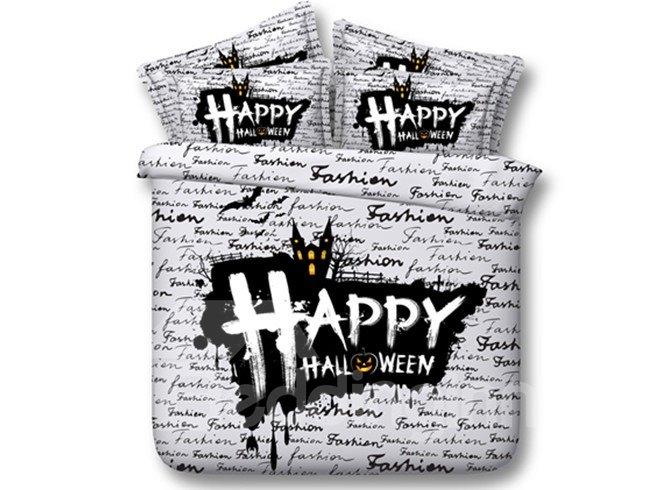 Unique Happy Hallowmas Print 4-Piece Tencel Duvet Cover Sets