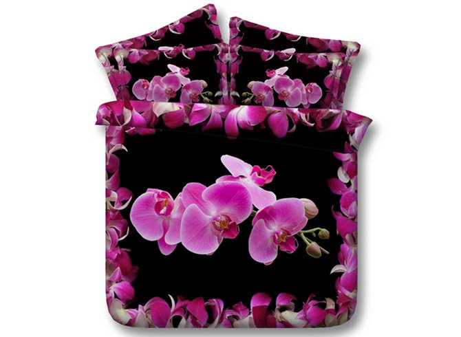 Unique Phalaenopsis Print 4-Piece Tencel Duvet Cover Sets