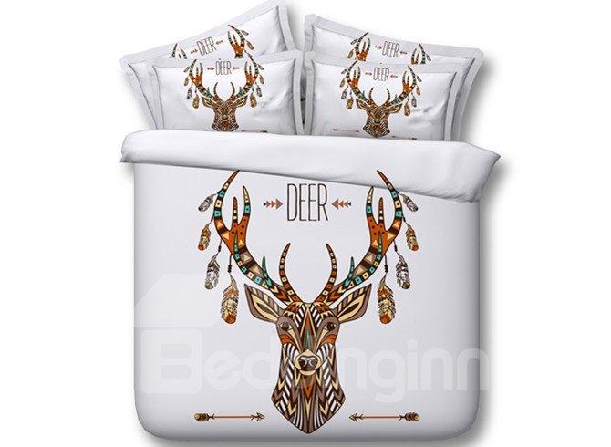Ethnic Style Deer Print 4-Piece Tencel Duvet Cover Sets