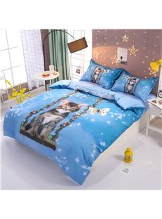 Naughty Cat and Butterfly Print 4-Piece Tencel Duvet Cover Sets