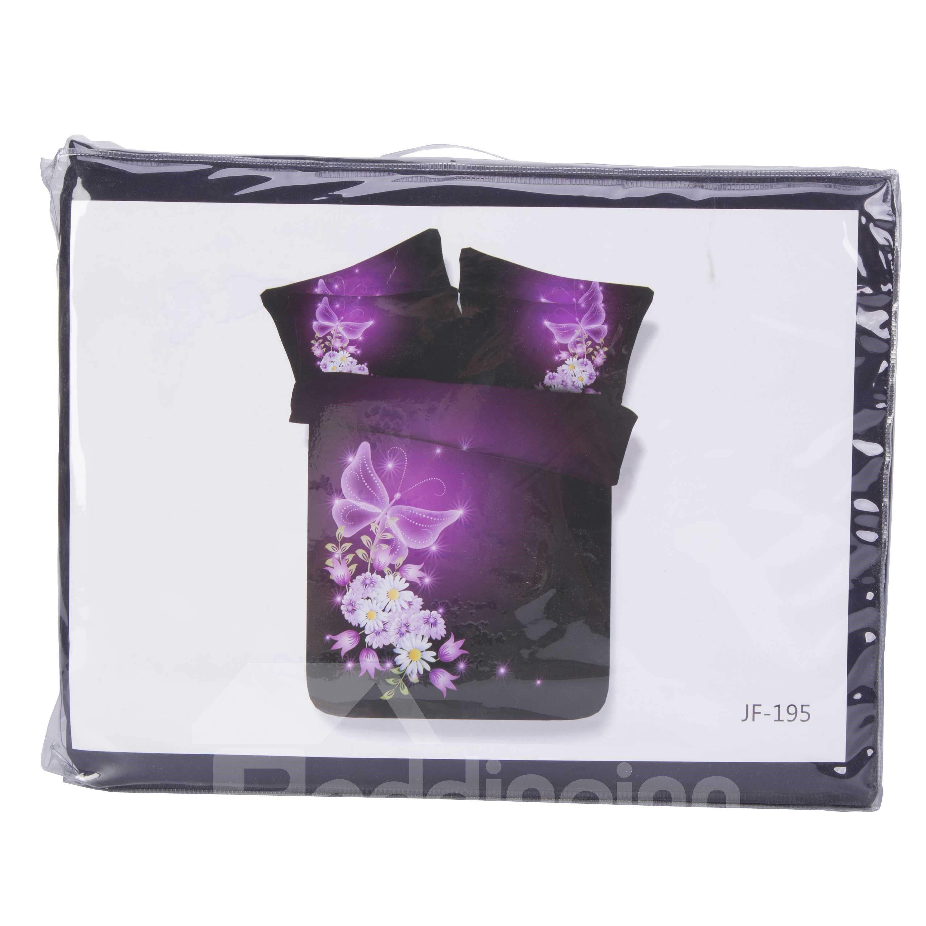 3D Daisy and Butterfly Printed Cotton 4-Piece Purple Bedding Sets/Duvet Covers